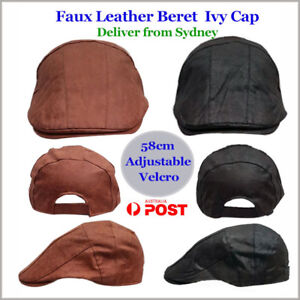 Leather Style Mens Ivy Beret Casual Hat Golf Cap-stock from Sydney ... be712fc9f464