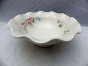 Pfaltzgraff-Tea-Rose-pattern-Round-Fluted-Pedestal-Bowl-7-034-wide-EUC