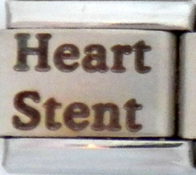 Heart Stent Laser Medical Alert for Italian Charm Bracelets Free Medical Card