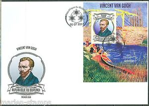 BURUNDI-2013-VINCENT-VAN-GOGH-SOUVENIR-SHEET-FIRST-DAY-COVER