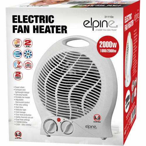 1000W//2000W Portable Ajustable ventilateur électrique radiateur Double Chaud /& Froid Elpine 31110 C