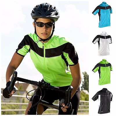Womens Short Sleeve Cycling Jersey Top Full Zip Breathable Lightweight Size 8-16 HöChste Bequemlichkeit