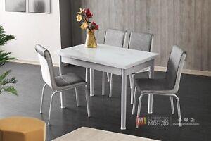 Dettagli su Tavolo allungabile con quattro sedie Design moderno sala da  pranzo cucina