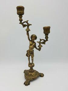 Kerzenleuchter Messing Junge Putto Art Deco ca. 32 cm