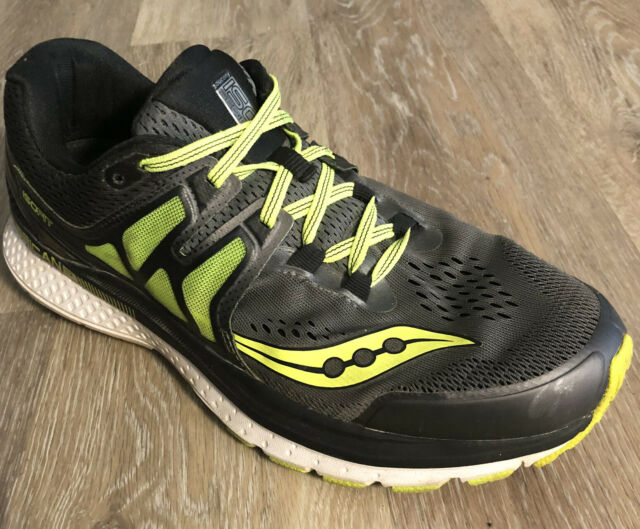 Saucony Hurricane Iso Fit Running Shoes Style S20348-1 Black Green Mens Size 10