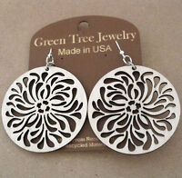 Raindrop Circle Green Tree Jewelry Natural Wood Laser Cut Wood Earrings 1058