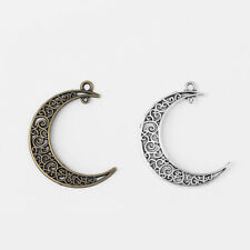 30 Moon Charms Celestial Crescent New Moon Charms Antique Silver 16x20 3409