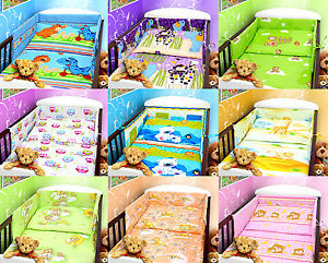BABY BEDDING SET 2 3 4 5 6 pc 140x70 cm COT QUILT DUVET PILLOW BUMPER STRAIGHT