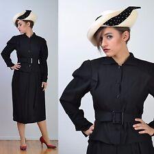 VTG 80s 40s AVANT GARDE Design Ink Black Wool Knit Suit Jacket Skirt Dress S-M