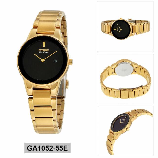 Citizen Women S Ga1052 55e Axiom 30mm Black Dial Yellow Gold Tone Watch