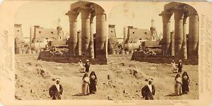 Egitto Luxor Tempio Amon, Foto Stereo Vintage Albumina PL62L3