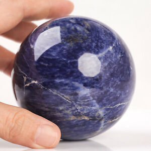 671g 80mm Large Natural Blue Sodalite Quartz Crystal Sphere Healing Ball Chakra