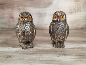 Gorgeous-Mid-Century-Modern-Vintage-Pewter-Owl-Salt-amp-Pepper-Shakers-Metal