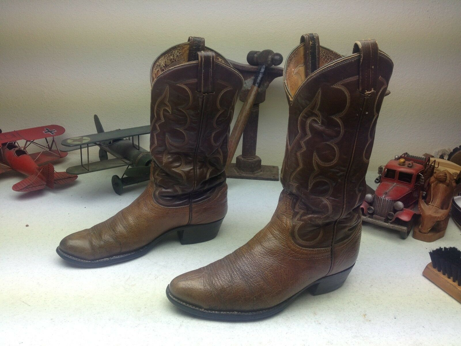 VINTAGE TONY LAMA MADE IN USA DISTRESSED ENGINEER TRAIL BOSS OLD WORK BOOTS 9D