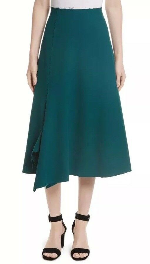 Tracy Reese Woman's Size 18 Asymmetrical Green  Hem Midi Skirt. NEW