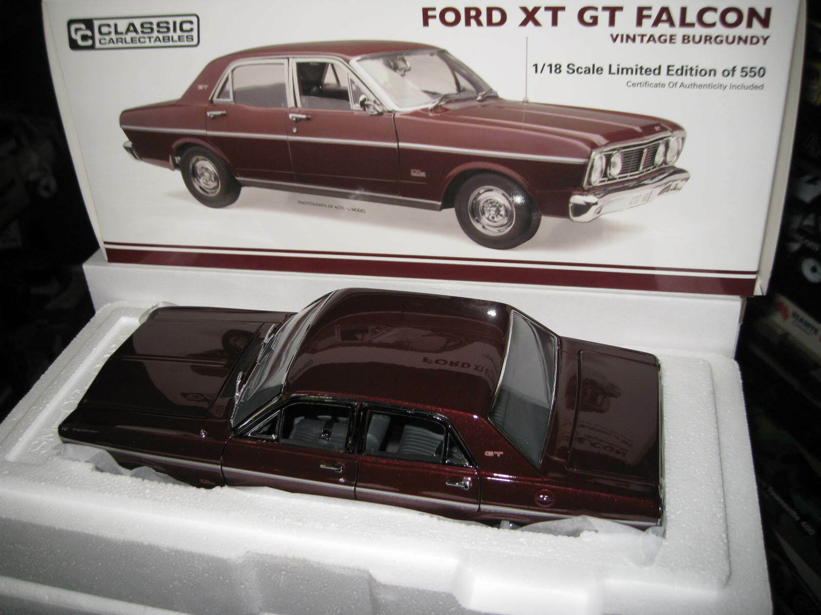 CLASSIC 1 18 1968 FORD FALCON XT GT VINTAGE BURGUNDY  LTD ED OF JUST 550   18679