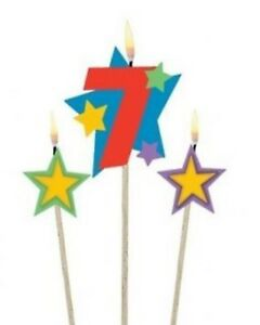 Image Is Loading 7th Birthday Candles Cake Topper Boys Amp Girls