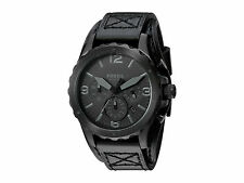 Fossil Men's JR1510 Nate Chronograph Black Dial Black Leather Watch