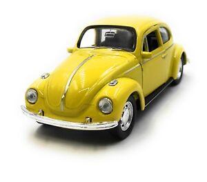 Modellino-Auto-VW-Maggiolino-Beetle-Conf-Orig-Giallo-Auto-1-3-4-39-Licenza