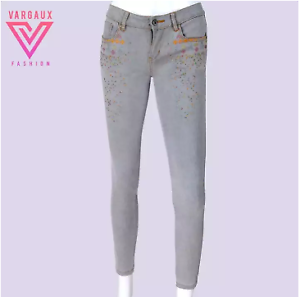 Vargaux-039-s-Sheen-Korean-Style-Skinny-Jeans-Faded-Embroidery-Design-Women-039-Size-31