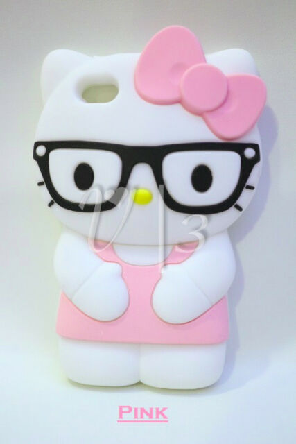 3D HELLO KITTY Soft Silicone Rubberized Gel Back Case Cover for iPhone 5 5S 5C