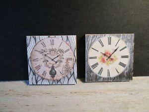 Brillant 2 Maison De Poupées Miniature Horloges Dnu3-afficher Le Titre D'origine Forte RéSistance à La Chaleur Et à L'Usure