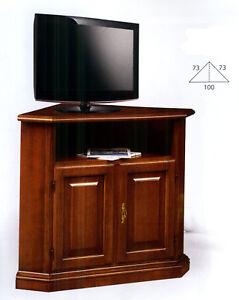 Dettagli su MOBILE ANGOLARE 2 ANTE PORTA TV IN LEGNO NOCE CLASSICO  xSOGGIORNO SALA 208
