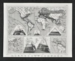 Details about 1849 Bilder World Map Botanical Biomes Himalaya Andes Alps  Mountains Plants Crop