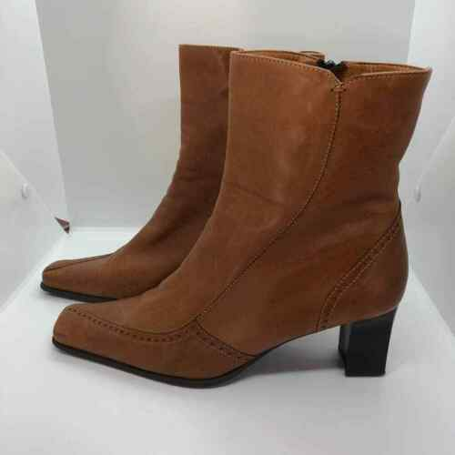 Elastomere tan leather zip up boots square toe  - image 1