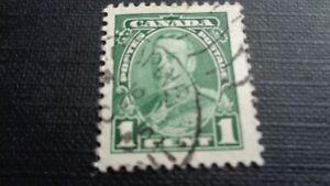 Canada-francobollo-Stamp-1935-re-Georg-1c-verde-timbrato
