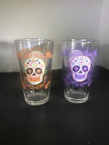 2-Dia-de-los-Muertos-Sugar-Skull-Mexican-Folk-Art-Glass-Pink-Peach-Rose