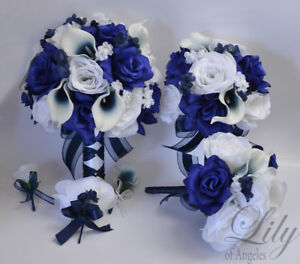 17 piece package wedding bridal bouquet silk flowers navy dark blue image is loading 17 piece package wedding bridal bouquet silk flowers mightylinksfo
