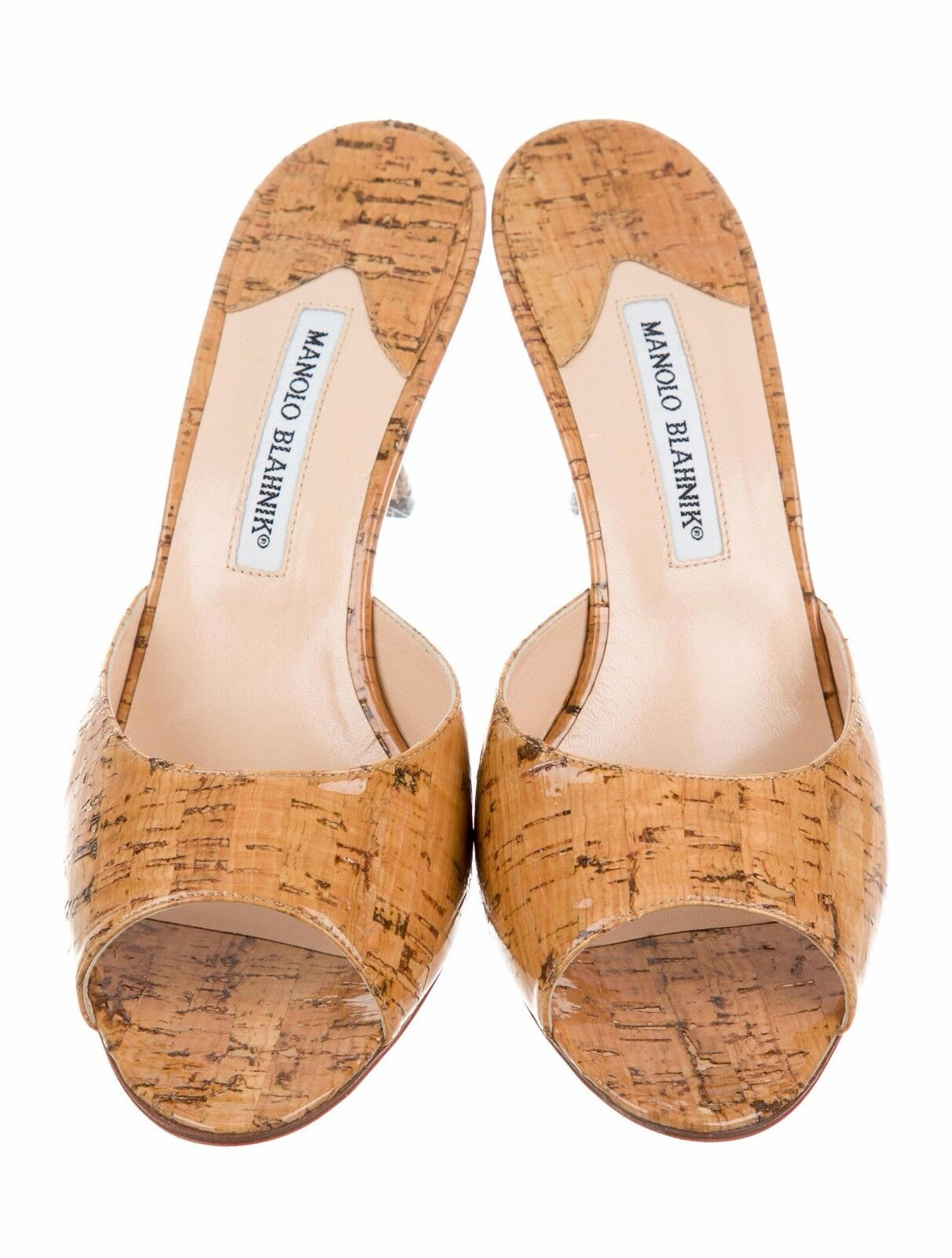 Neu Manolo Blahnik Astuta Beige Glänzend Kork Lack Slide Sandalen Schuhe 40.5