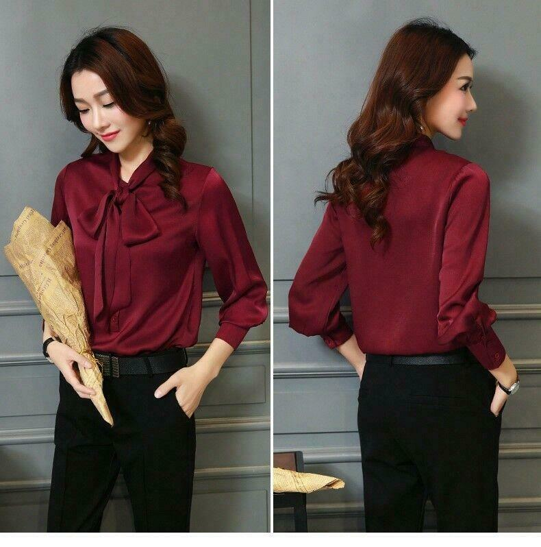Women's Real Silk Satin Bow Tie Long Sleeve Shirt Formal Tops OL office Blouse