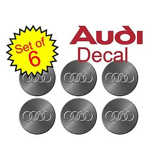 "Audi 2.5"" Simulated metal 6pc Replacement Decal Sticker center cap hub wheel a4"