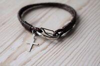 Men's Leather Bracelet - 925 Silver Cross - Free Gift Bag