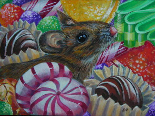 Mouse Animal Christmas Candy Still life print