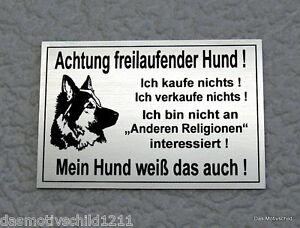 Hunde Achtung Freilaufender Hund,hundeschild,gravurschild,12 X 8 Cm,silber,schäferhund
