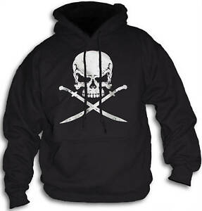 Pirate-Skull-Swords-Mens-Womens-Hoody-Hooded-Top-Front-or-Rear-Print-Sm-2XL