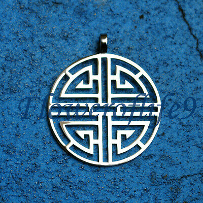 Lu - Chinese symbol of wealth 1 9/16 x 1 3/8 inch inch - Stainless Steel