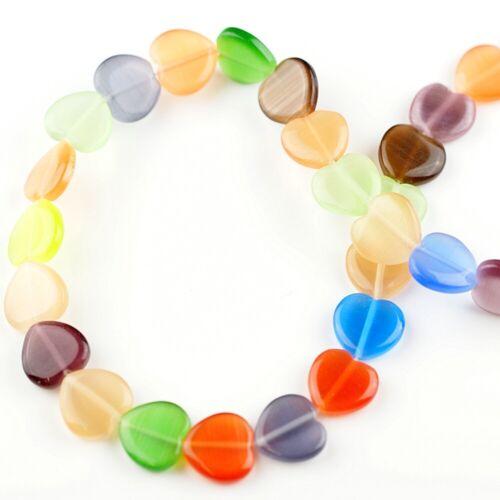 1041 32 unidades CatEye perlas corazones 12x12mm 1 Strang beads cristal multicolor abalorios