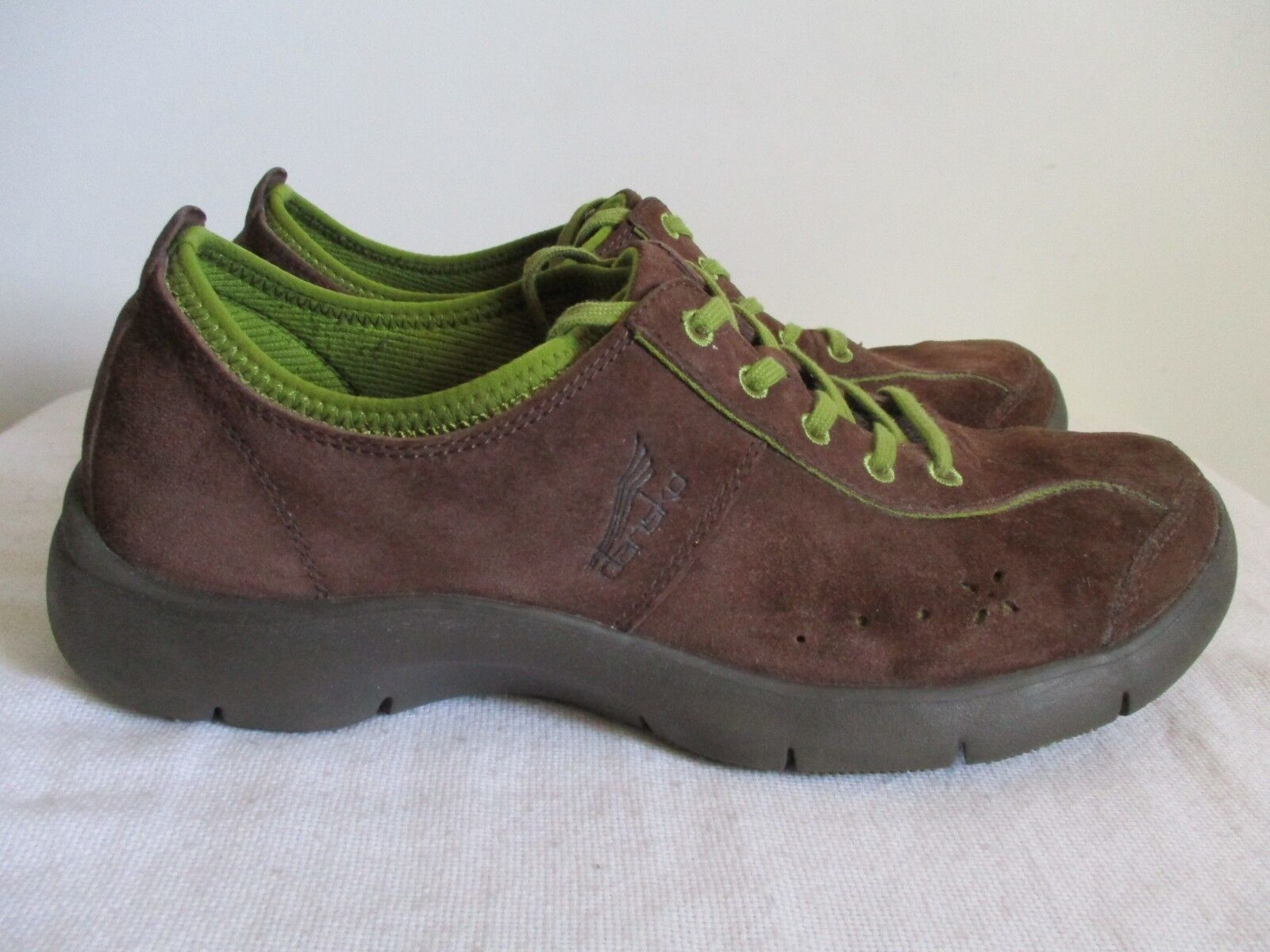 Dansko Elise Brown Green Suede Sneakers Lace Up Womens Size 41 EU 10 10.5 US