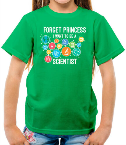 Forget Princess Want To Be A Scientist Kids T-Shirt Biology Science