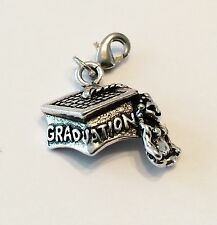 LOVELY SILVER GRADUATION HAT CLIP ON CHARM FOR BRACELETS -TIBETIAN SILVER - NEW