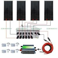 400w 4x 100w 12v Pv Solar Panel With 45a Controller +6 String Combiner Box