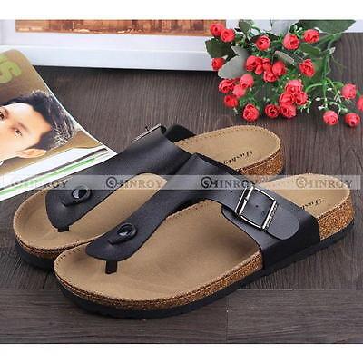 Couple Summer Flip Flops Cork Sandals Slippers Womens MensBeach Flats Shoes NEW