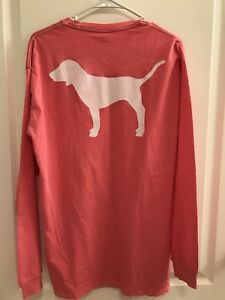 New Victoria/'s Secret PINK Long Sleeve Campus Pocket Tee T Shirt Dog Great Gift