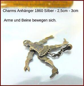 Biedermeier-Charms-antik-Figur-beweglich-Hampelmann-1850-Silber-Anhaenger-vintag