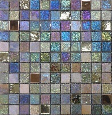 IRIDESCENT GLASS/STONE/METAL MIX MOSAIC 2.5x2.5cm G30145