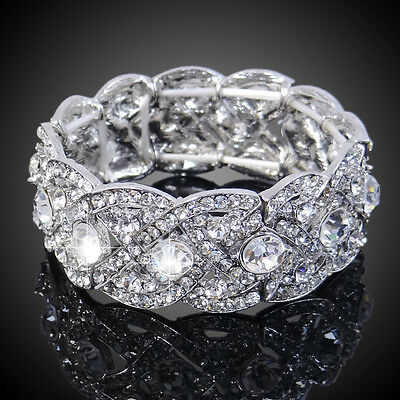 EC Vintage Style Bridal Art Deco Clear Austrian Crystal Stretch Chain Bracelet